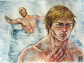 Jaime & Brienne- Harrenhal bath - jaime-and-brienne fan art