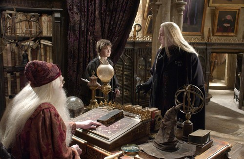 Lucius Malfoy with Harry Potter and Dumbledore