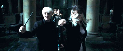 Narcissa nad Draco Malfoy with Bellatrix and Hermione