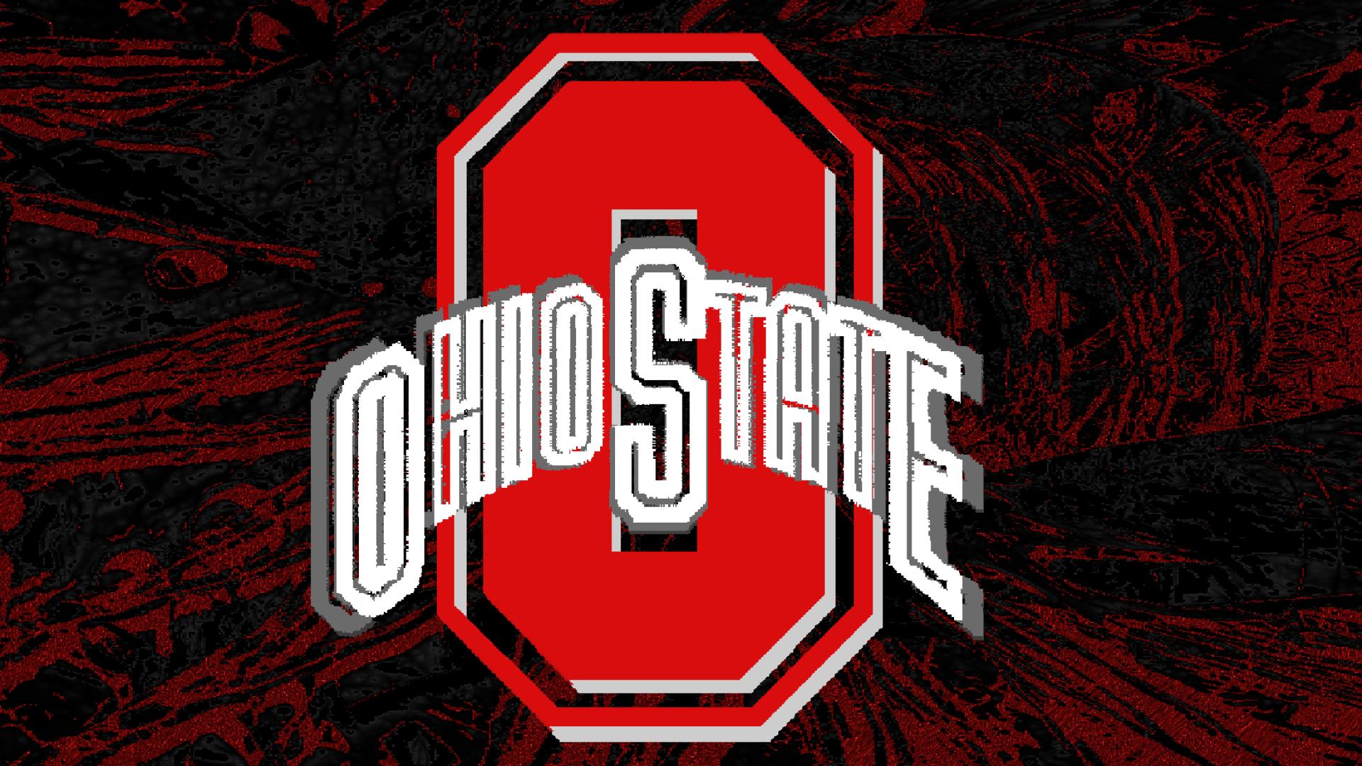RED BLOCK O WHITE OHIO STATE WITH BUCKEYE LEAF - Ohio