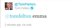 Tom tweets 'Emma'