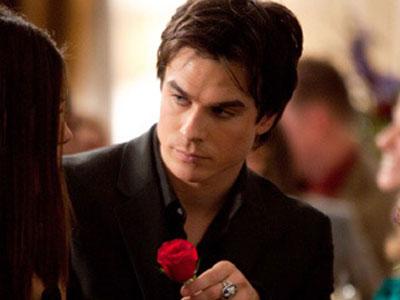 damon giving Elena rose