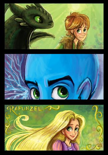 hiccup, rapunzel and megamind