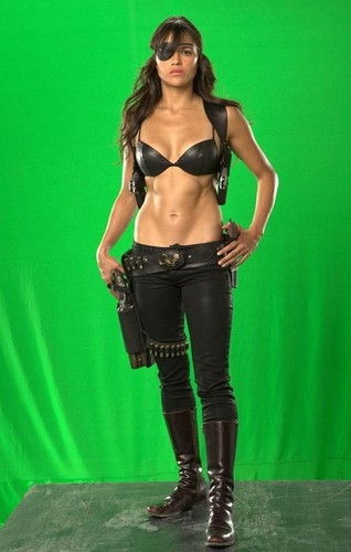 michelle rodriguez wallpaper probably containing hot pants, celana panas, a hip boot, and a pakaian renang, baju renang called 'Machete' Production foto