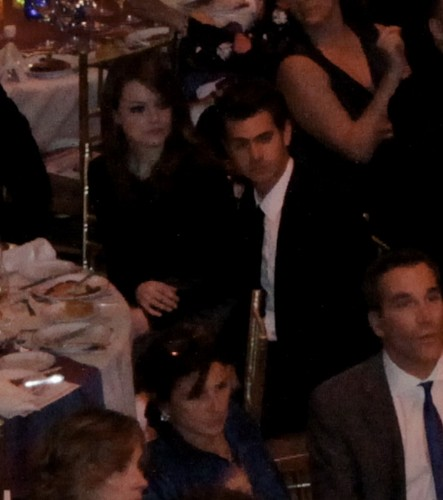Andrew Garfield and Emma Stone karatasi la kupamba ukuta probably containing a business suit titled 7th Annual Worldwide Orphans Foundation's Benefit