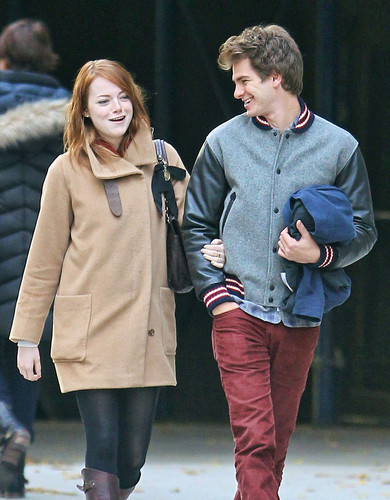 Andrew Garfield and Emma Stone wallpaper probably containing an outerwear, a box coat, and an overgarment titled A&E in NY