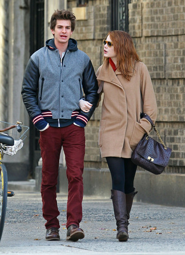 Andrew 加菲猫 and Emma Stone 壁纸 probably with a business suit, a well dressed person, and an outerwear titled A&E in NY