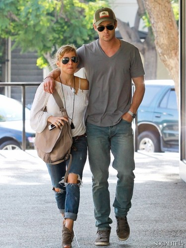 Chris Hemsworth wallpaper possibly containing a street, sunglasses, and long trousers entitled Chris Hemsworth And Elsa Pataky Spotted At French Cafe In Hollywood