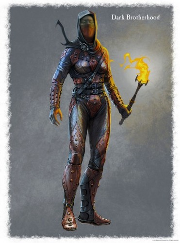 Concept art of the Dark Brotherhood female armor