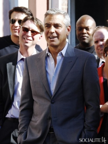 George Clooney Attends John Wells' Hollywood Walk of Fame Induction