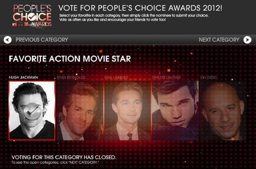 Hugh won as Избранное action movie star.