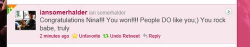 Ian Congrats Nina on Twitter!