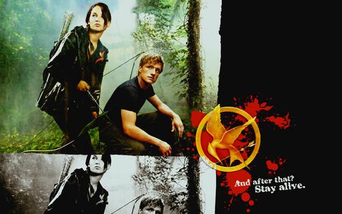 Peeta Mellark and Katniss Everdeen kertas dinding containing a sign titled Katniss & Peeta