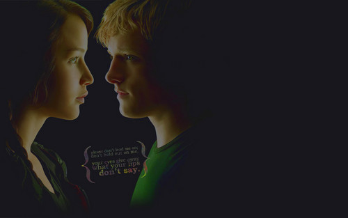 Peeta Mellark and Katniss Everdeen wallpaper probably with a jersey and a portrait entitled Katniss & Peeta