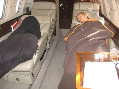 Kotyza and Kvitova sleep in aircraft