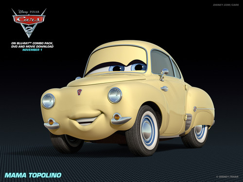 Disney Pixar Cars 2 wallpaper probably with a sedan entitled Mama Topolino