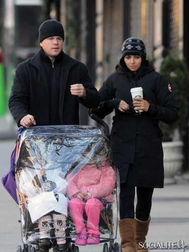 Matt Damon With His Wife And Daughters In New York City