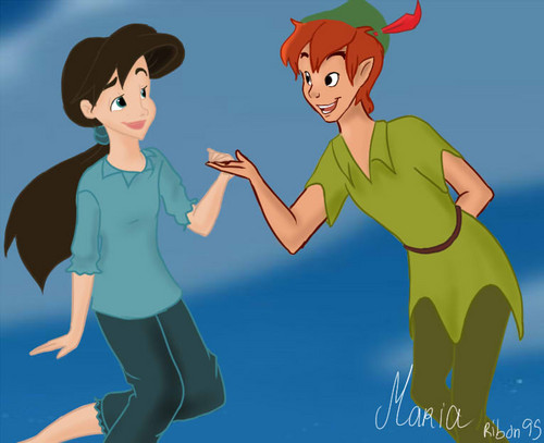 Young Heroines of Disney wallpaper possibly containing Anime titled Melody and Peter Pan