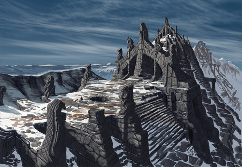 Elder Scrolls V : Skyrim karatasi la kupamba ukuta possibly with an alpinist titled Nordic Temple Ruins- Concept Art