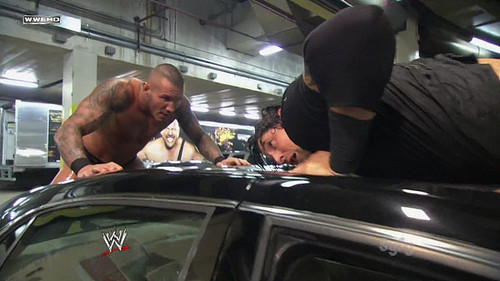 Randy Orton wallpaper possibly containing an automobile called Randy Orton RKO Wade Barrett On A Car