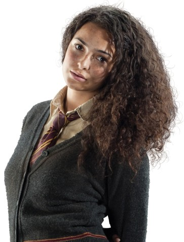 Gryffindor Hintergrund probably with an outerwear, a box coat, and an overgarment entitled Romilda promo pics