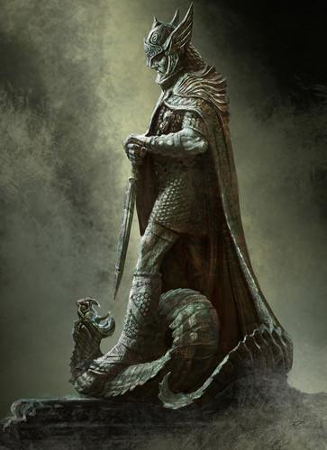 Elder Scrolls V : Skyrim wallpaper possibly with verdigris titled Shrine of Talos- Concept Art