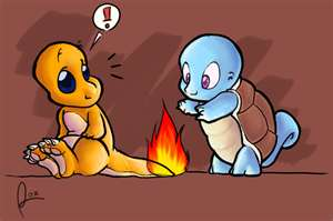 Squirtle roasting a marmallow on Charmander's flame