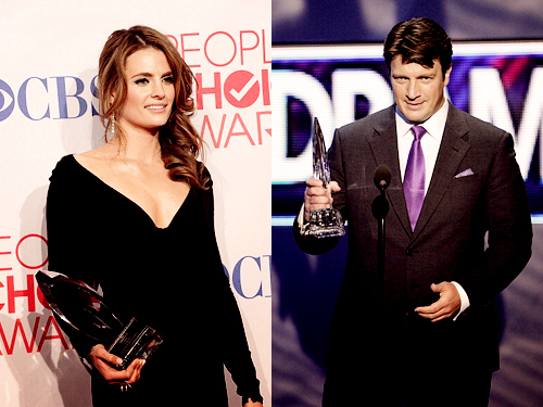 Nathan Fillion & Stana Katic wallpaper with a business suit entitled Stanathan<3