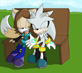 Us sitting on a bench - silverxriley photo