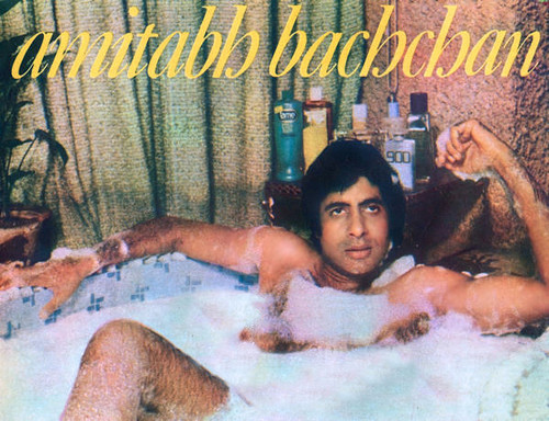 Bollywood wallpaper containing a hot tub and Anime called AMITABH BACHCHAN SHIRTLESS IN BATHTUB