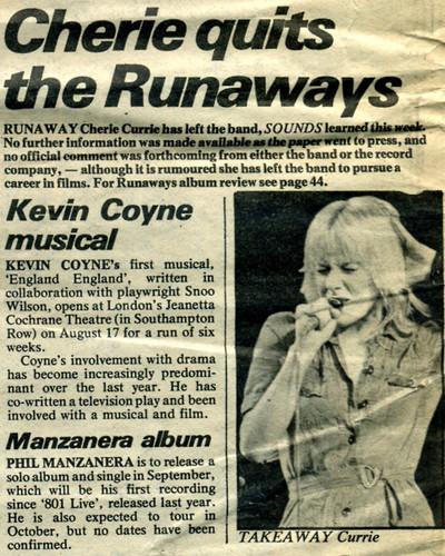 article about Cherie Currie Quiting The Runaways