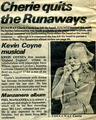 기사 about Cherie Currie Quiting The Runaways