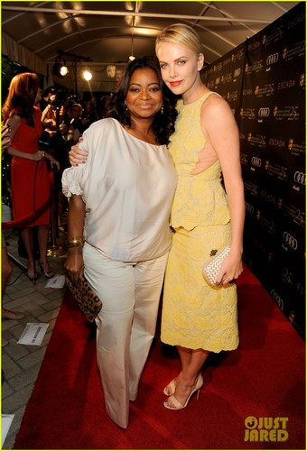 Charlize Theron: BAFTA té with Octavia Spencer!