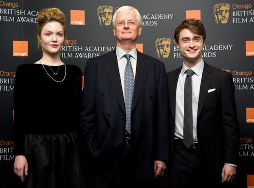 Daniel Radcliffe attend the nomination announcement for The jeruk, orange BAFTA