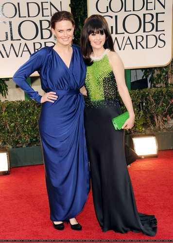 Emily Deschanel wallpaper possibly with a bridesmaid, a dinner dress, and a gown titled Emily @ 69th Annual Golden Globe Awards – January 15 2012