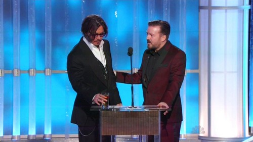 Johnny & Ricky on stage-Golden Globes 2012