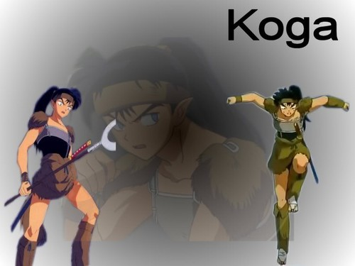 koga and kagome 壁紙 possibly containing アニメ called Koga