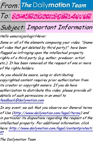 Dailymotion Important Information email