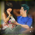 Manip:  Selena on David's lap. - dalena fan art