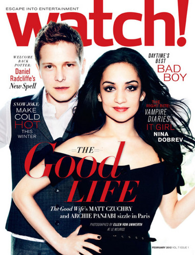 The Good Wife karatasi la kupamba ukuta with a portrait and anime entitled Matt Czuchry & Archie Panjabi on the February cover of Watch Magazine