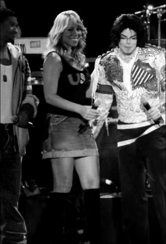 Michael And Mariah Carey at the What más CAN I GIVE live