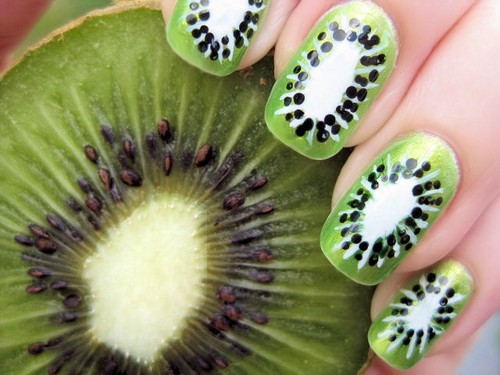 指甲,美甲 壁纸 possibly containing a kiwi, a chinese gooseberry, and a venus's flytrap entitled Nail art