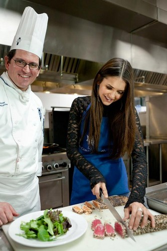 Nina Dobrev celebrating 23' Birthday at Le Cordon Bleu (2012)