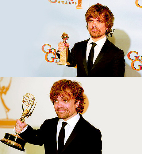 Peter Dinklage (w/ his emmy & his golden globe)