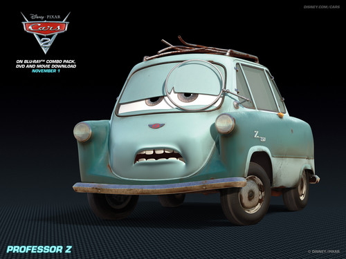 Disney Pixar Cars 2 wallpaper with a sedan titled Professor Z
