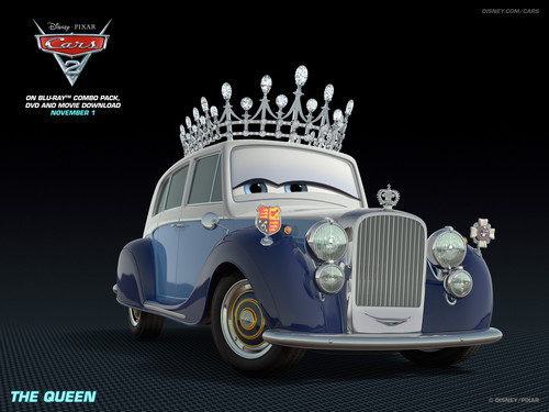 Disney Pixar Cars 2 wallpaper possibly containing a sedan and a hot rod entitled Queen