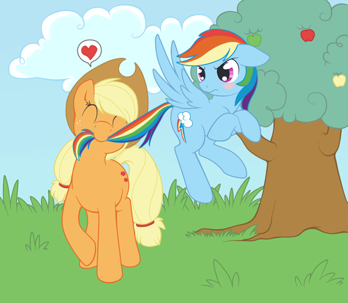 pelangi, rainbow Dash x AppleJack
