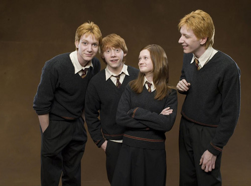 Ron, Fred, George, and Ginny