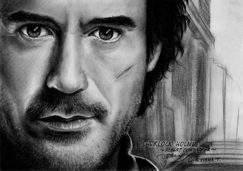 Sherlock Holmes (Robert Downey Jr) drawing