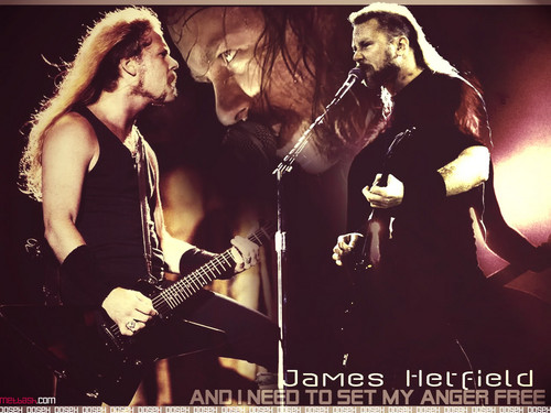 James Hetfield achtergrond with a concert and a guitarist entitled james hetfield